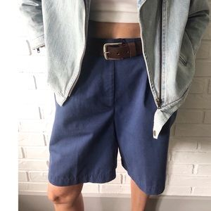 Vtg high waist baggy navy knee length mom shorts